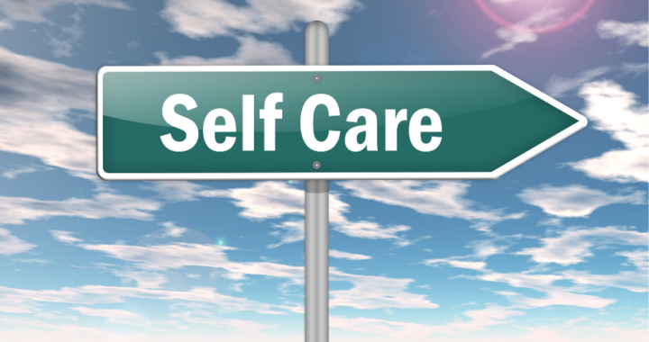 Self-care sign pointing to the right.