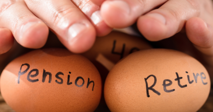 Mans hands covering eggs titled pension, retire, 401k.